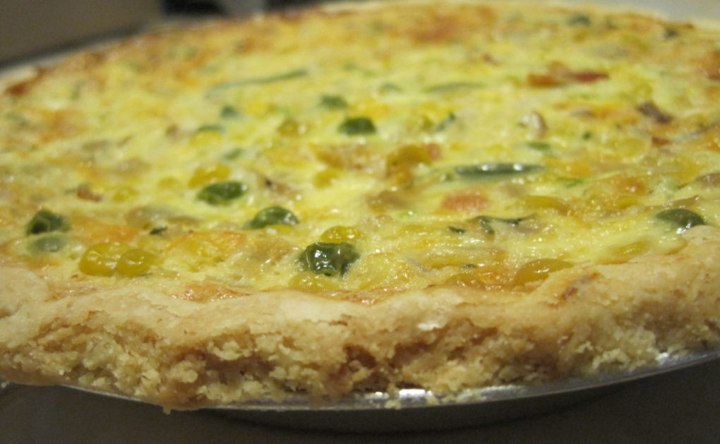 Shrimp and Vegetable Quiche made from Leftovers