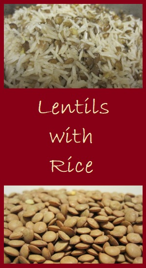 Frugal Meal--Lentils with Rice. Serves 4 for only $1.16 or $0.29 per serving.