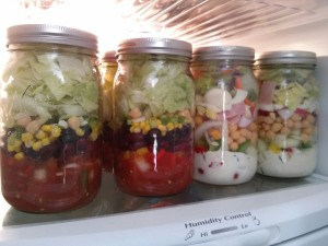 Salads in a Jar in fridge