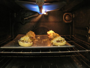 cheezy bites in under the boiler in the oven