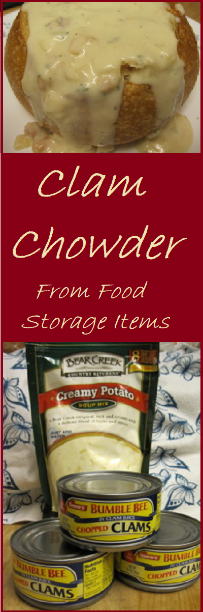 Clam Chowder from Food Storage Items--This recipe is made from four ingredients and some water. It's simple and delicious.
