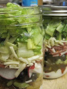 finished salad bar trip in a jar