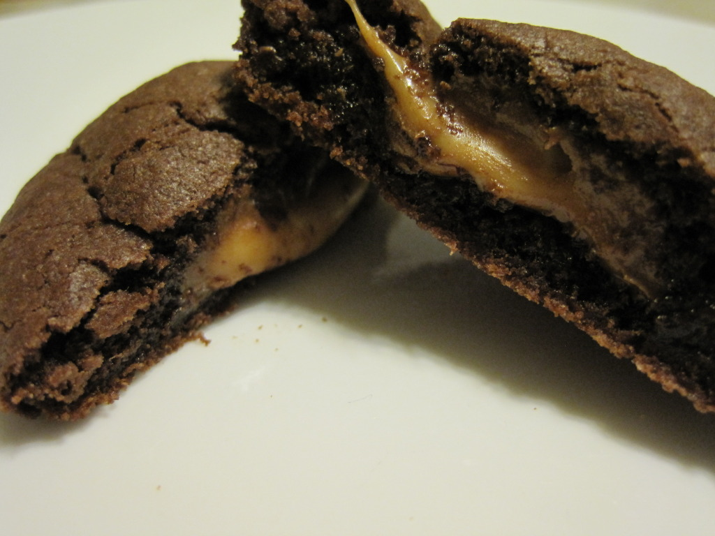caramel filled chocolate cookie, cake mix cookie