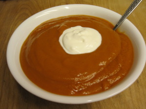 Lentil Tomato Soup with a dollop of creme fraiche