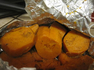The sweet potatoes were perfectly cooked.