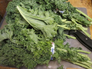 three bunches of kale are needed for beans and greens