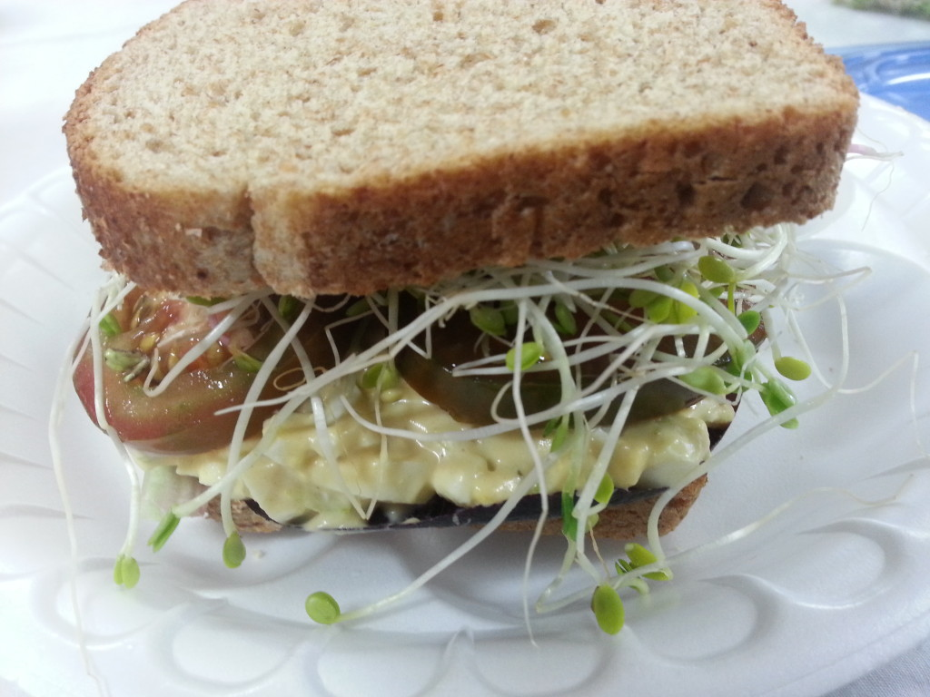 Full-sized egg salad sandwich