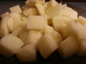 potatoes peeled and diced for the smother sausage