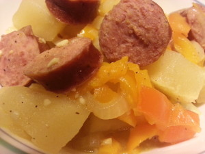 Simple one pot meal. Smothered potatoes with sausage