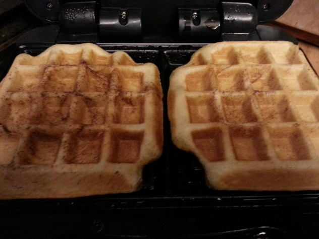 Cinnamon roll waffles after cooking