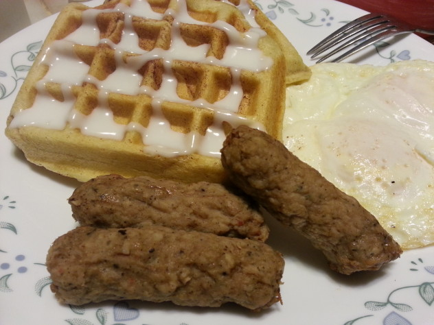 The sausage and eggs were a delicious accompaniment to the cinnamon roll waffles