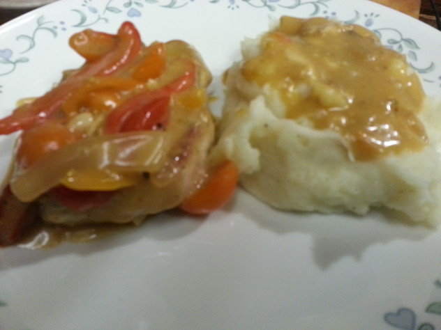 smothered ranch pork chops with cauliflower mashed potatoes