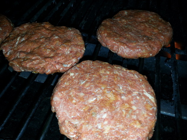 Grilled teriyaki seasoned burgers