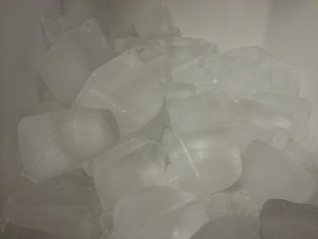a bucket full of home made ice