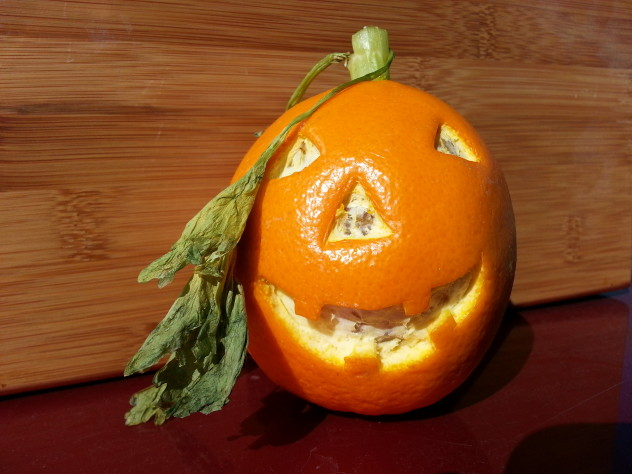 Jack-o-Lantern made from an orange