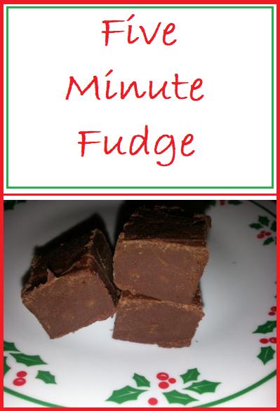 Five Minute Fudge--Simple, delicious, and with only4 ingredients.