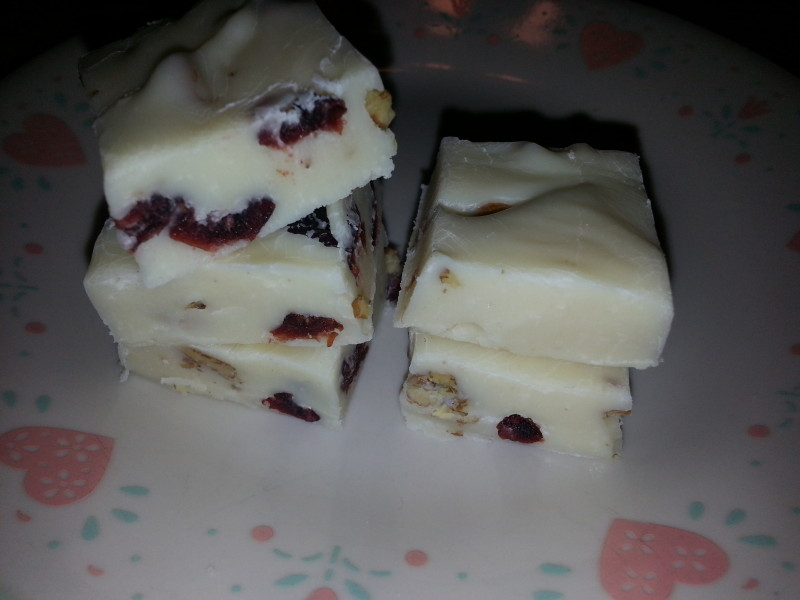 orange flavored white chocolate fudge with cranberries and pecans