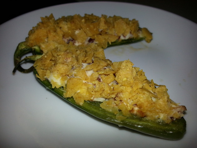tortilla crumb topped stuffed jalapenos with cream cheese and bacon filling