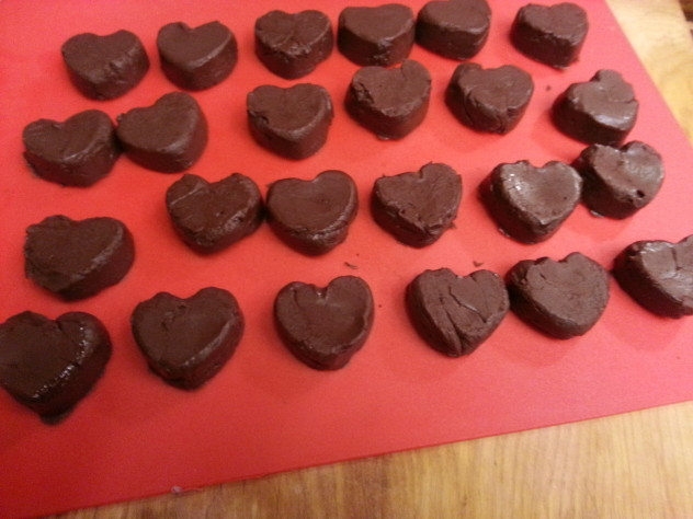 The fudge hearts were popped out of the mold.
