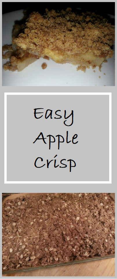 Easy Apple Crisp--Sliced Apples are placed into the bottom of a prepared baking dish and topped with streusel topping. Delicious!