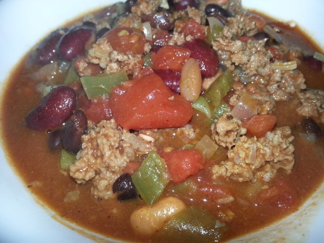 Chili, served piping hot from the stove.