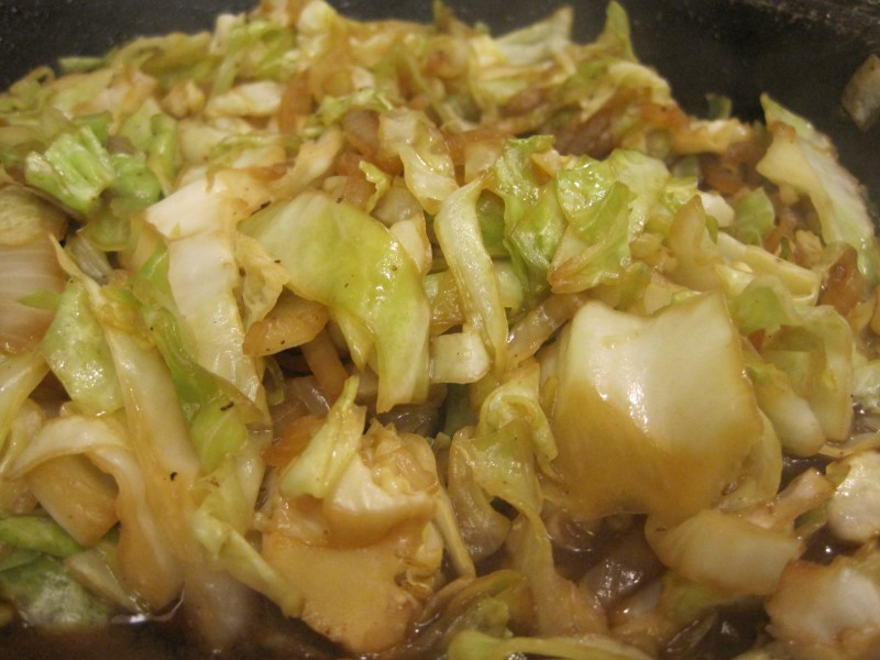 Cabbage stir fried with onions and garlic