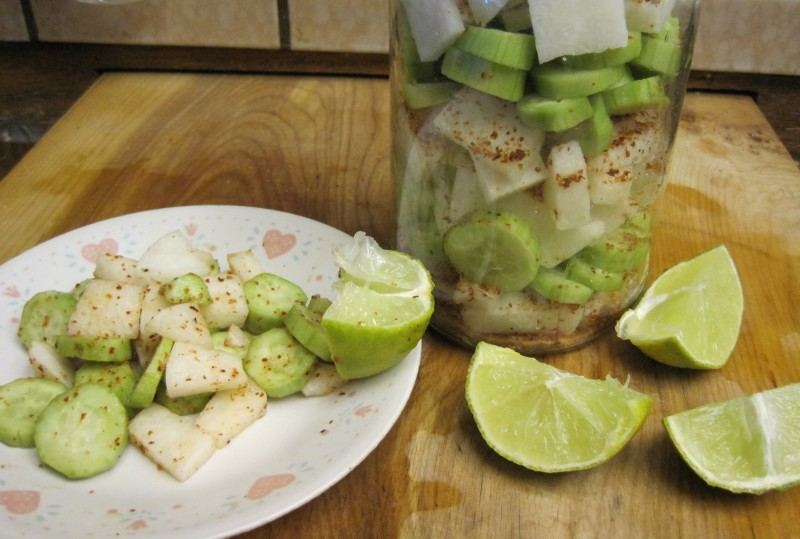 Jicama and cucumber salad in a jar