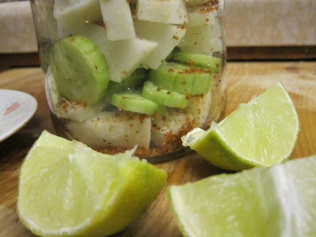 cucumbers, jicama, chile and lime juice make a delicious salad
