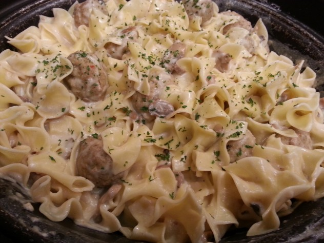a pan full of meatball stroganoff