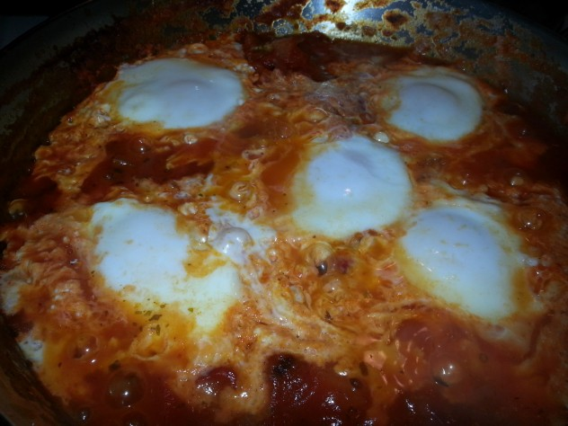 heated salsa is a good base for poaching eggs