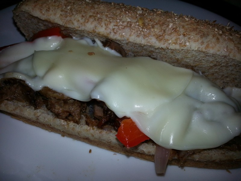 Beef and pepper sandwiches-sliced leftover potroast is combined with onions and peppers and water sauteed until the meat is hot and the veggies are crisp tender. Delicious quick dinner. PattyCakesPantry.com