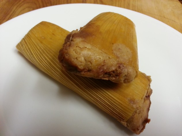 Tamales filled with beans and cheese
