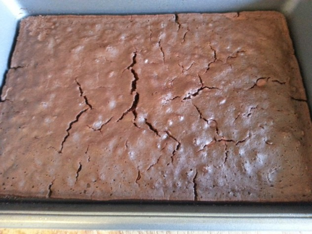 A pan of cooked Black Bean Brownies
