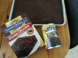 Ingredients for black bean brownies