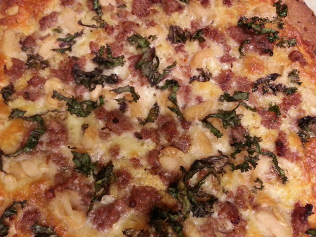 kale and cannellini pizza straight from the oven