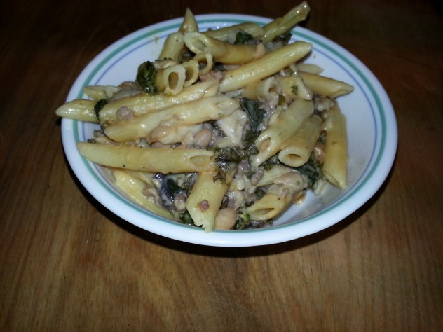 Penne tossed with a creamy kale and cannelini sauce