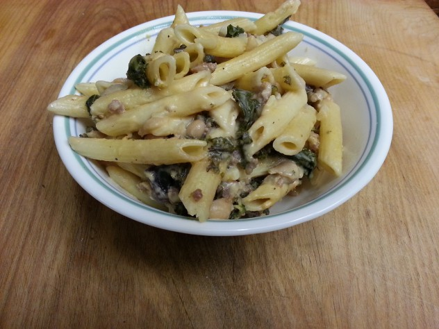 A cream sauce filled with rich flavor and super foods Kale and Cannelli beans.