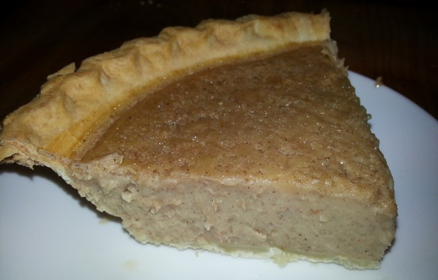 A slice of navy bean pie
