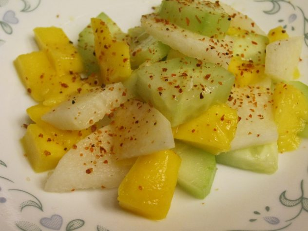 cucumber, jicama, and mango salad