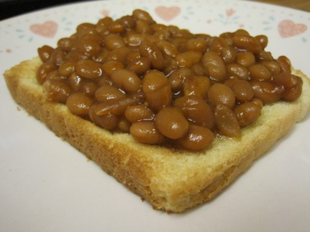 toast topped with beans