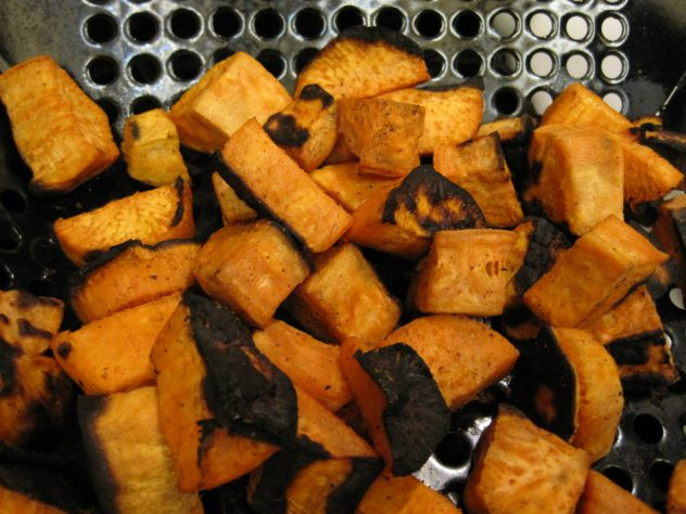 grilled sweet potatoes which burned slightly