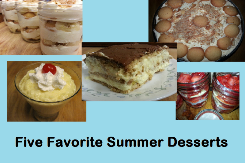 Five Favorite Summer Desserts--Patty Cake's Pantry's favorite summer desserts--strawberry shortcake trifle, easy banana pudding, watergate salad, choclate eclair cake, pineapple rice pudding