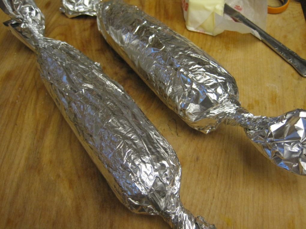 Grilled corn--wrapped in foil