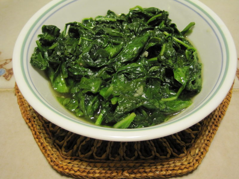 Simple Sauteed Spinach with garlic and citrus