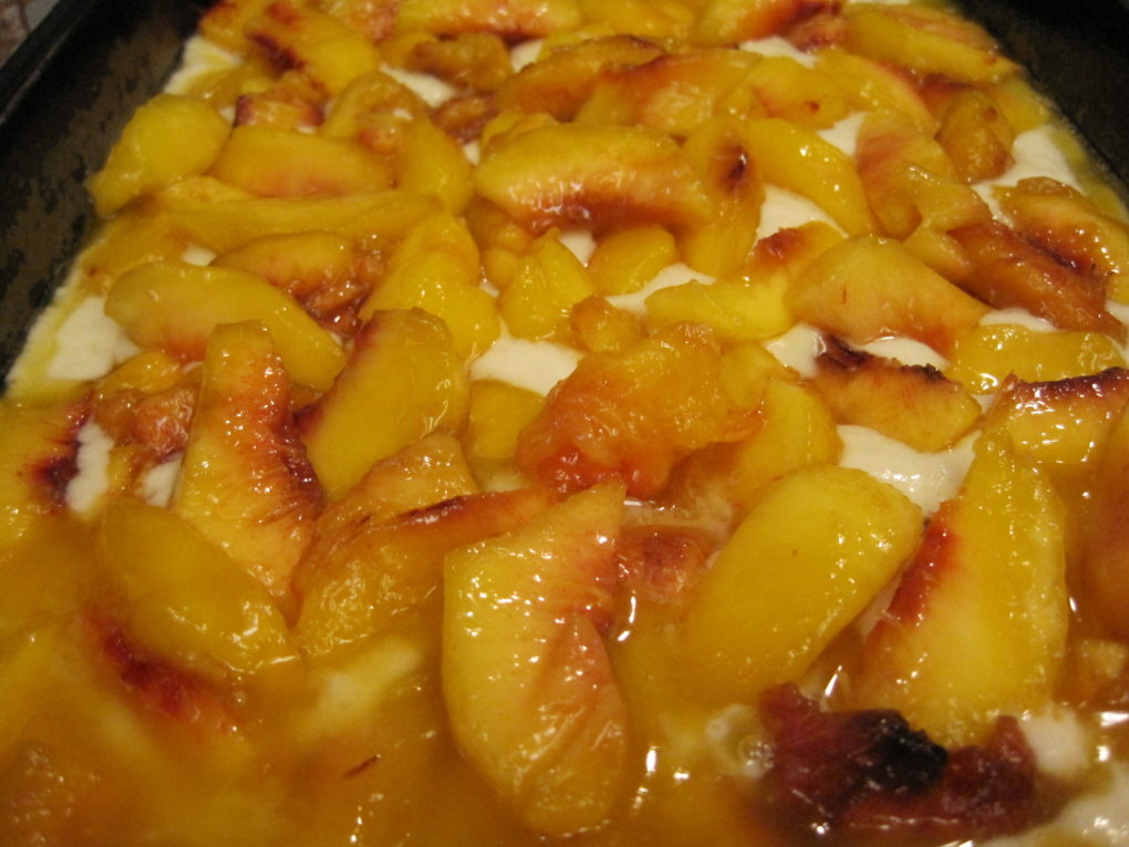Easy Nectarine Cobbler--Scattering Nectarines on batter