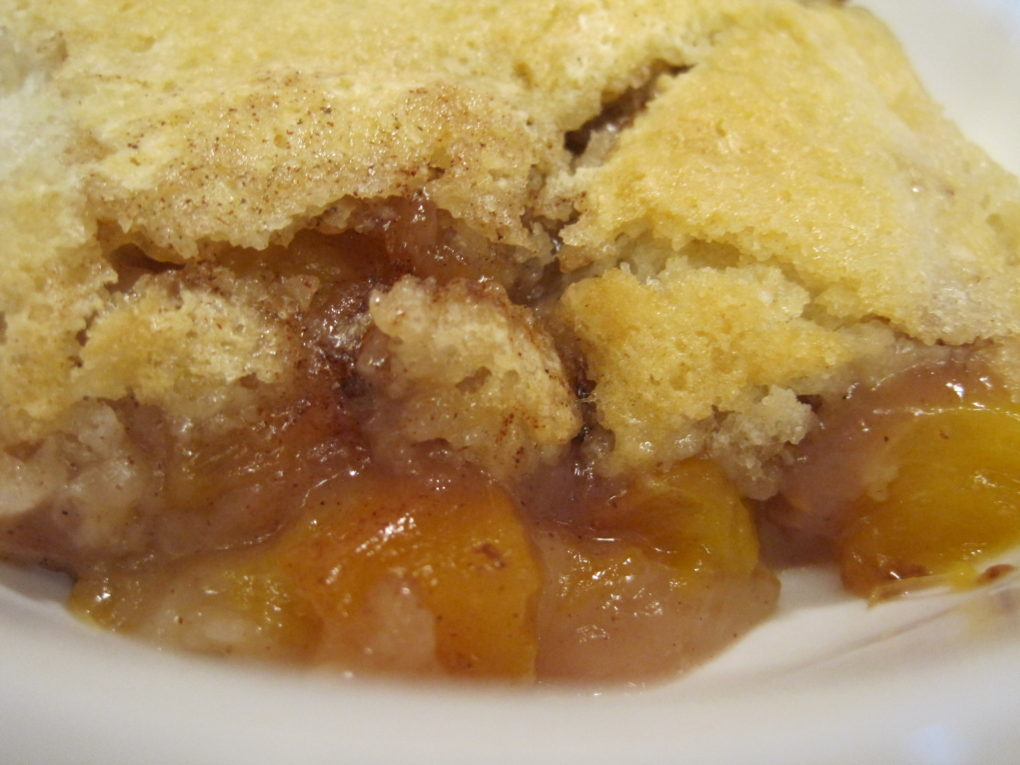 Easy Nectarine Cobbler-a warm slice, fresh from the oven