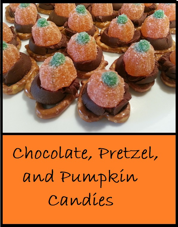 Another simple homemade candy with pretzels, chocolate kisses, and pumpkin candies.