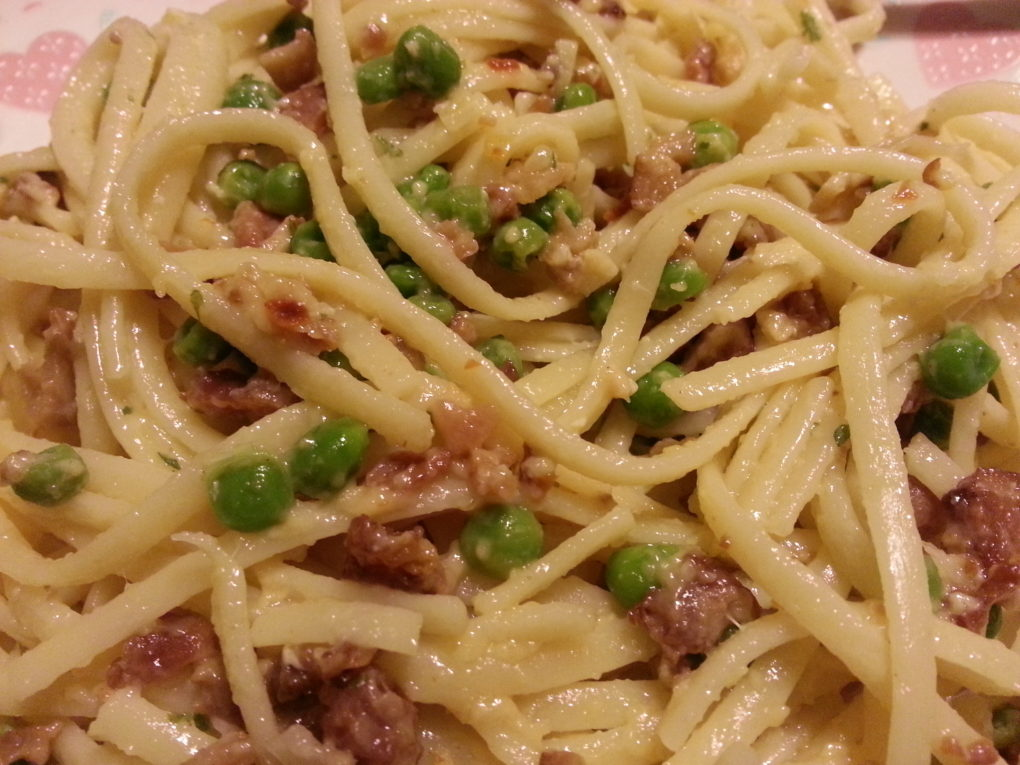 Linguine Carbonara--Bacon and Egg Pasta with Peas