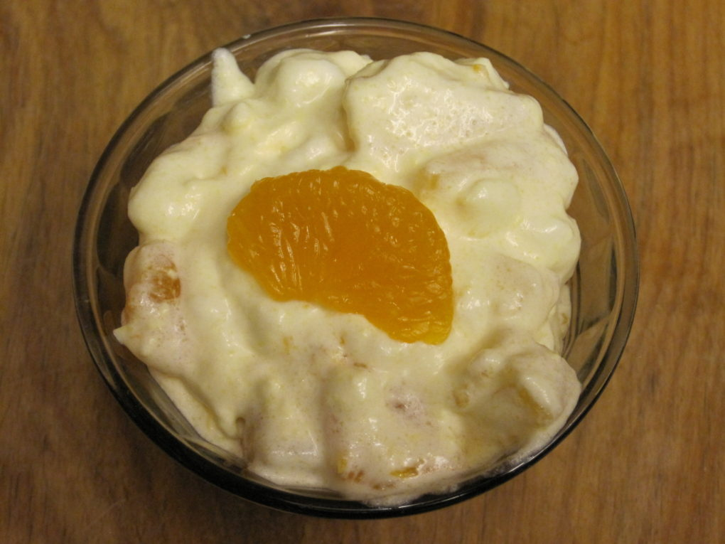 A simple fruit salad with cottage cheese and lemon gelatin