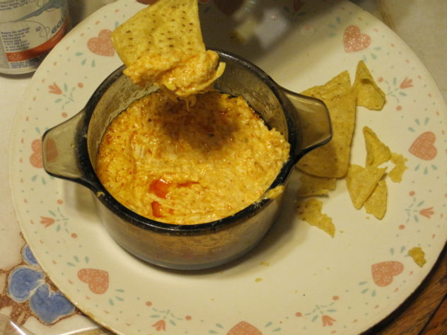 buffalo chicken dip cooked in the slow cooker